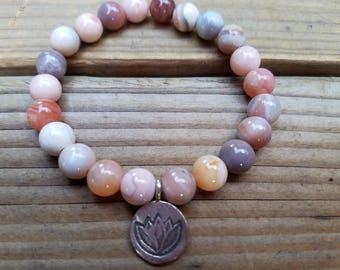 Peach Agate Stretch Bracelet wifh Hill Tribe Silver, Karen Hill Tribe Silver Lotus Flower Charm, Yoga Jewelry, Stacking Bracelety