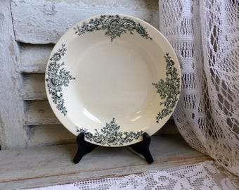 Antique french forest green transferware round serving dish. Dark green transferware shallow serving bowl. Jeanne d'Arc living.