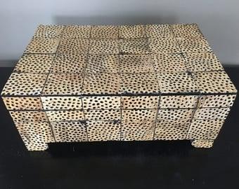 Large Cheeta Decorative Box, handcarved, with texture, hinge, black, jewlery box
