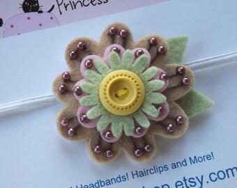 Tan Beaded Felt Flower Headband, Baby Girl Flower Headband, Toddler Flower Headband, Newborn Flower Headband