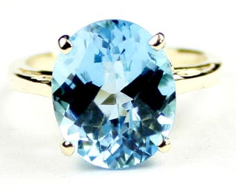 Swiss Blue Topaz, 14Ky Gold Ring, R055