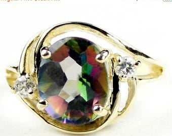 On Sale, 30%Off, Mystic Fire Topaz, 14KY Gold Ring, R021