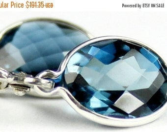 On Sale, 30% Off, London Blue Topaz, 925 Sterling Silver Leverback Earrings, SE101