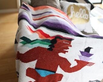 vintage striped sarape rainbow warrior mexican fringe blanket