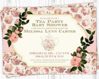 Tea Party Shower Invitation, Peach and Rose Shower Invite, Tea Pot Digital Design, CUSTOM, 4x6 or 5x7 size, YOU print