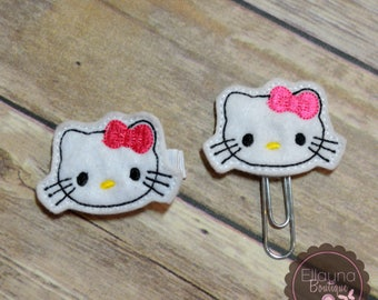 Felt Hair or Planner Clips - Hello Kitty Inspired