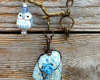 Ceramic Owl Necklaces- Choice of Blue or Yellow