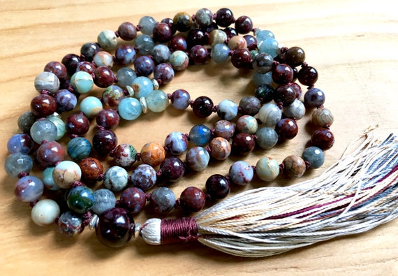 Root Chakra Mala Beads - Garnet Mala - Labradorite Necklace - Aquamarine Mala Beads - Grounding Jewelry - Agate Necklace, Tassel Necklace