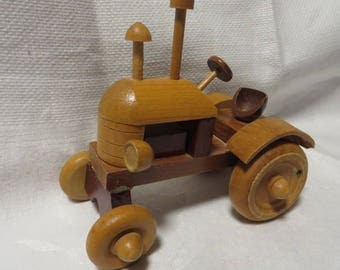 Toy TRACTOR Wooden Handmade Vintage  //  Wooden Toys  //  Old Fashioned Tractor  //
