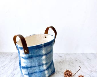 Small size Indigo dyed fabric bin, basket, container, desk organizer with leather handles