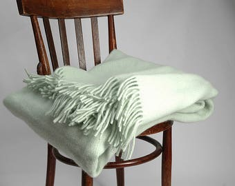 Pure Wool blanket with fringes Mint Green Wool blanket Pure wool throws Wool throw 55''X81''/140X205cm Perfect gift