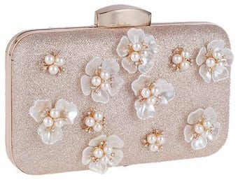 MADELINE luxury evening clutch bag flower pearls, elegant wedding party clutch bag rose gold beige, gift for her, high fashion accessories