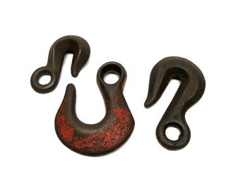 Lot of 3 Assorted Rustic  Iron Hooks Industrial Farm Chain Hooks Rustic Iron Hooks Rural Americana