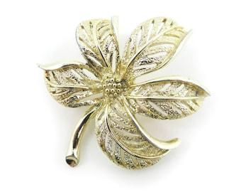Vintage, Sarah Coventry, Leaf Brooch, Signed, Gold Tone, STQ62
