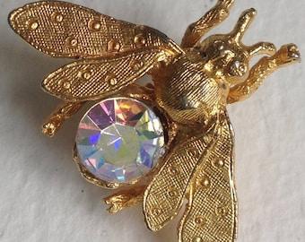 Goldtone Aurora Borealis Bee Brooch