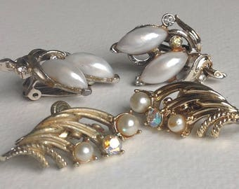2 Pairs Retro Goldtone Rhinestone & Pearl Earrings - Clip on Fitting - Gifts for Her