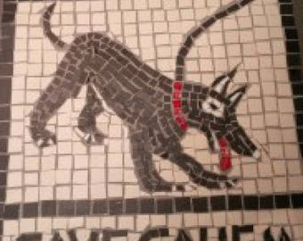 "Beware of the Dog sign/plaque (in Latin ""Cave Canem"")  famous Pompeii mosaic, sign, custom made"