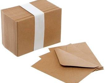 Mini Envelopes Small Kraft Brown 85mm x 110mm Wedding RSVP Cards