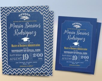Graduation Invitation, College Graduation Invitation, Custom Color and Sign, Double-Sided, UNR, DIY