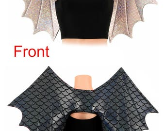 Two Tone Black Dragon Scale/Baby Pink & Silver Mermaid Scale Metallic Wireless Dragon Wings Sparkly Wet Shiny (Wings Only) -  154854