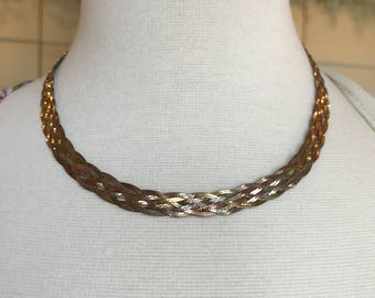 Herringbone 925 Silver Braided Necklace Made in Italy