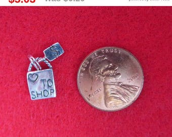 ON SALE! Sterling Silver Shopping Charm Vintage Shopping Bag Pendant Charm Bracelet Gift Idea