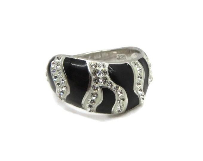 Sterling 925 Zebra Stripe Ring, Vintage Black Enamel, CZ Ring, Size 8