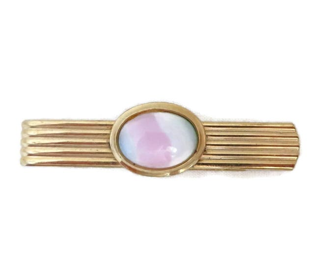 Ridged Gold Tone Tie Bar, Vintage Glass Stone Tie Clip, Suit Accessory, Gift Idea, FREE SHIPPING