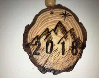 Custom Wood burned mountain ornament 2018