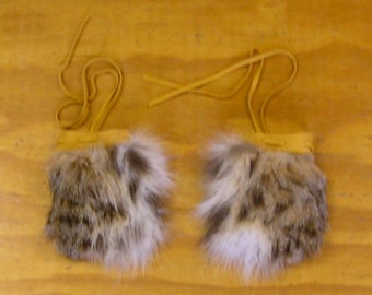 2 Bobcat Fur & Gold Color Deer Leather Bags