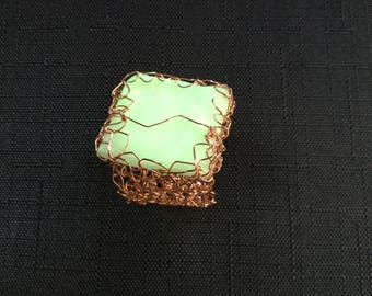 Square ring, glow in the dark ring, glow ring, green glow jewellery, glowing jewellery, glow square ring, adjustable ring, bright ring, glow
