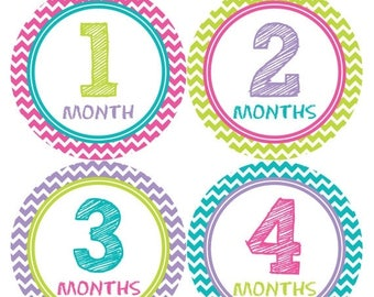 Baby Monthly Stickers, Baby Girl Monthly Stickers, Milestone Stickers, Baby Girl Month Sticker - Baby Girl, Girl, Baby Shower Gift 293