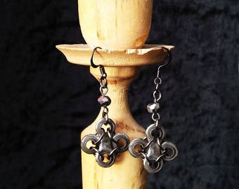Upcycled jewelry. Bike chain jewelry. Bicycle chain earrings OXFORD. Gift for cyclists