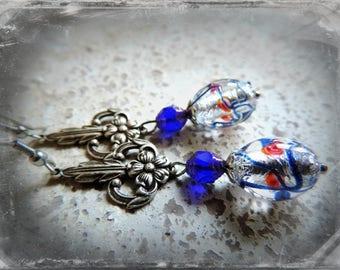 long earrings, silver and Czech crystal