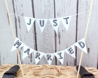 Just Married  Wedding Cake Topper Miniature Bunting Decoration