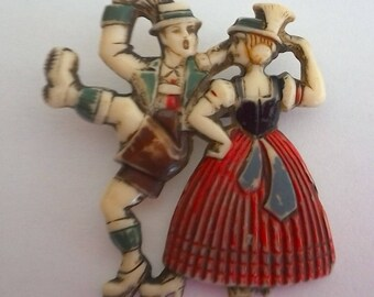 Vintage Plastic Brooch Couple Dancing