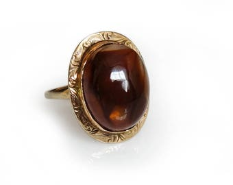 Antique Victorian Ring 10k Yellow Gold Fire Agate Cabochon Size 4