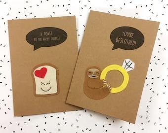 Engagement Card - Wedding Card - Felt Card - Cute Sloth Card - Toast Card - w/ Felt Sloth & Engagement Ring or Toast with Heart Detail