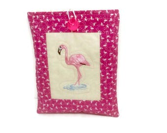 Flamingo fabric, Ipad mini gadget case, ipad mini 2 bag, book jacket, Mom Birthday gift, padded cover for tech gadgets, pouch for e reader