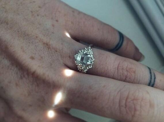 Dainty Herkimer Diamond Tibetan Quartz Ring Solitaire set in High Polish Solid Sterling Silver 925