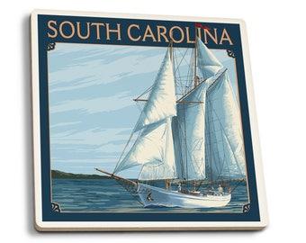 SC - Schooner Sailboat Scene - LP Artwork (Set of 4 Ceramic Coasters)