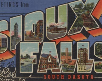 Greetings from Sioux Falls, South Dakota - Vintage Halftone (Art Print - Multiple Sizes Available)