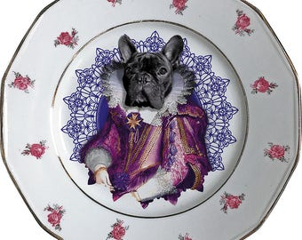 Lady Blondie - French Bulldog - Vintage Porcelain Plate - #0420