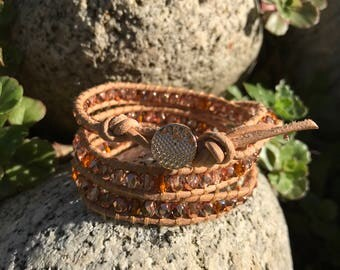 3 Wrap Bracelet With Natural Leather Cording and Rose Gold Glass Beads - Chan Luu Style