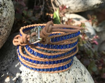 4-5 Wrap Natural Leather With Blue Beads - Chan Luu Style