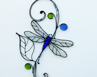 Stained Glass Suncatcher Dragonfly Tiffany Glass Home decor Gift
