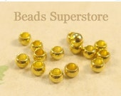 SALE FINAL SALE 2.5 mm x 2 mm Gold-Plated Brass Spacer Bead - Nickel Free and Lead Free - 100 pcs
