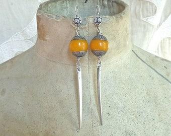 SUMMER SALE Resin Bead and Spike Earrings