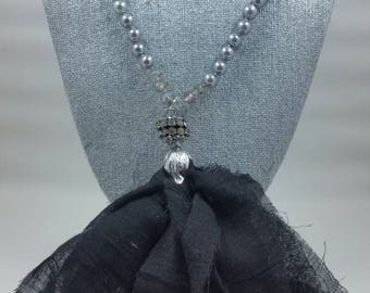 Freshwater Pearl and Cloth Tassel Necklace