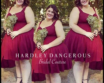 SALE! Burgundy Wine CHERI Bridesmaid Dresses, Casual Stretch Knit, Build Your Dress Options, Custom Handmade by Hardley Dangerous Couture